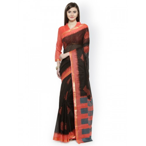 65cc4beb16 Buy Shaily Black & Coral Silk Cotton Printed Saree online | Looksgud.in