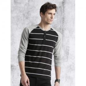 Roadster Black Striped Henley T-Shirt