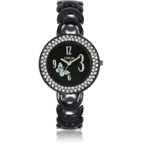 LOREM LR201 New Designer Black Crystal Bracelet Girls Watch  - For Women
