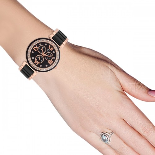 Youth Club Black Pearly Watch  - For Women
