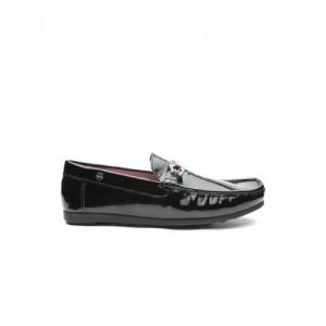 Carlton London Men Black Glossy Leather Loafers