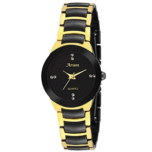Arum New Collection Black Round Shaped Dial Metal Strap Fashion Wrist Watch for Women's and Girl's