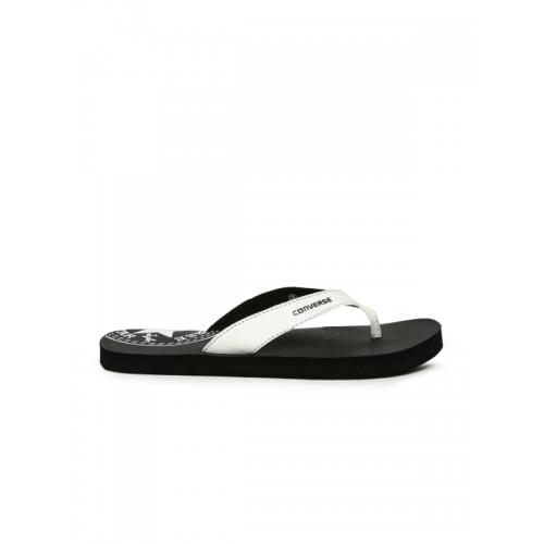 Converse Men White & Black Printed Thong Flip-Flops