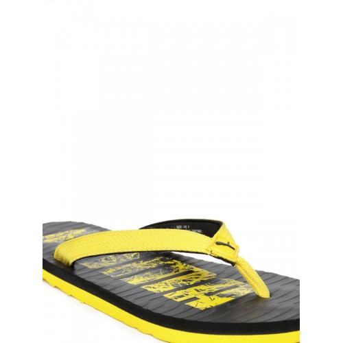 Puma Unisex Yellow & Black Printed Miami Fashion DP Flip-Flops
