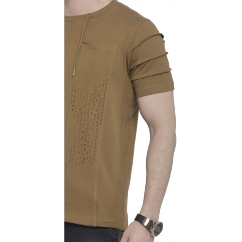 Rodid Solid Men's Round Neck Brown T-Shirt