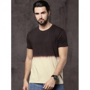 Roadster Men Brown & Beige Dyed Round Neck T-shirt