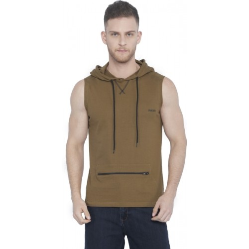 Rodid Solid Men's Hooded Brown T-Shirt