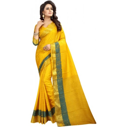 6dd70e4d94f14d Buy SATYAM WEAVES Self Design Banarasi Cotton Silk Saree online ...