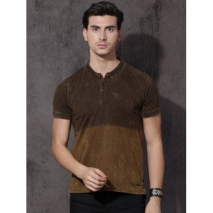 Roadster Men Coffee Brown Polo Collar Colourblocked Washed T-shirt