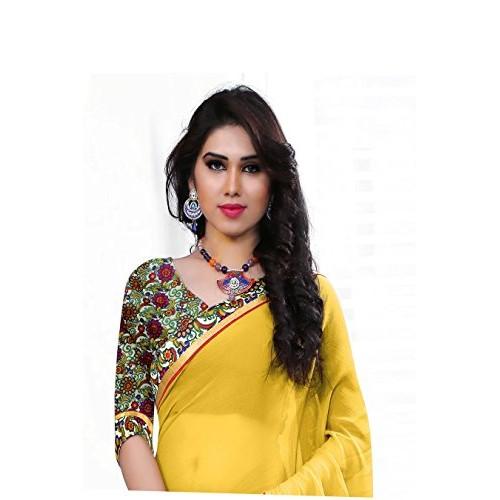 de4f982deb Buy Shree Laxmi Creation Chiffon Saree (Jankar118_Yellow) online ...