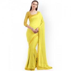 Mirchi Fashion Yellow Solid Poly Chiffon Saree