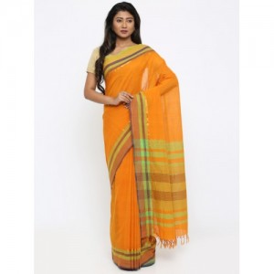 gocoop Mustard Yellow Pure Cotton Mangalagiri Handloom Saree