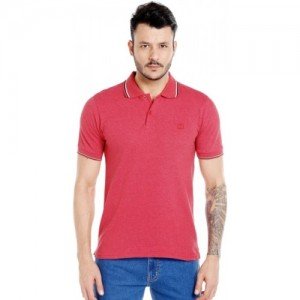 Zido Solid Men's Polo Neck Red T-Shirt