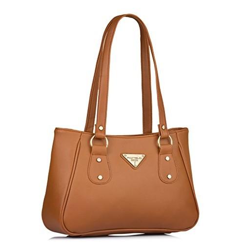 Fostelo Tan Leather Solid Shoulder Bag