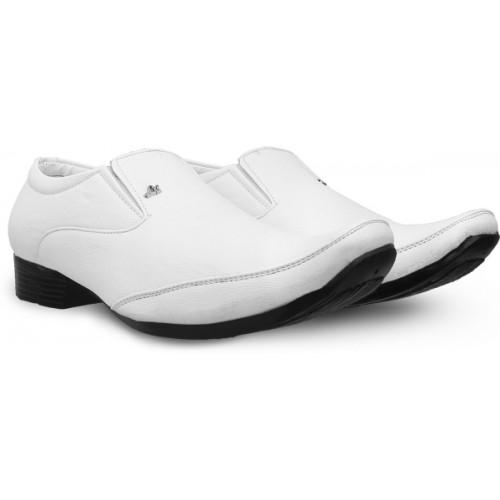 Shoe Island Premium Class White Leatherette Slip-On Formal Slip On For Men