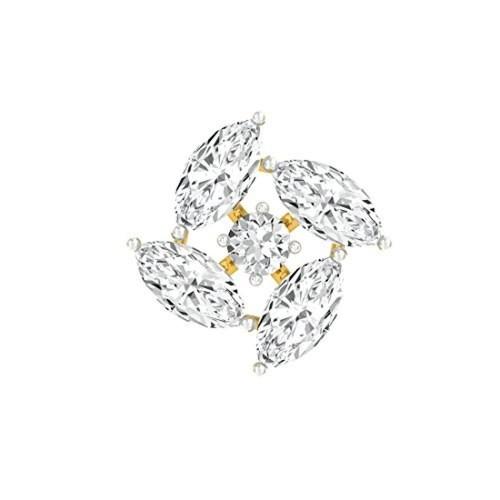 Buy TBZ The Original Floral 18k Yellow Gold and Diamond Nosepin