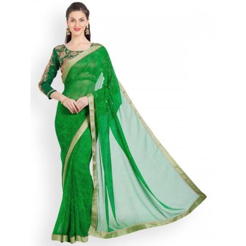 Indian Women By Bahubali Green Printed Sarees