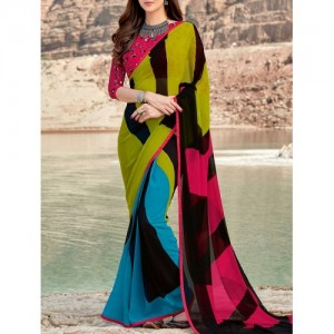shaily Multi Coloured Georgette Printed Saree with blouse