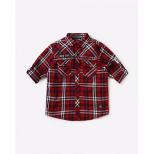 YB DNMX Checked Shirt with Roll-Up Tabs
