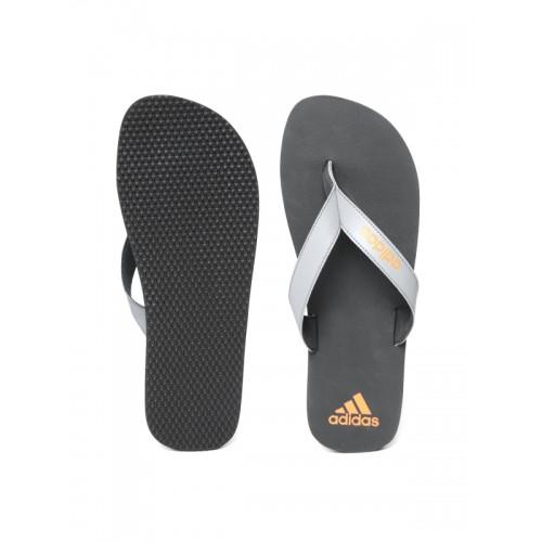 Adidas Men Grey & Black PUKA Solid Thong Flip-Flops