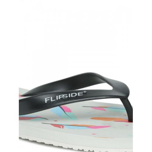 Flipside Men Black & Grey Leaf Print Flip-Flops