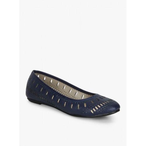 Bata Deep Navy Blue Laser Cut Belly Shoes
