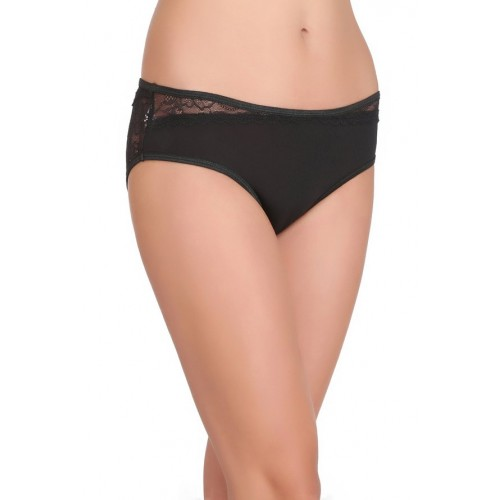 Clovia Clovia Black Lace Mid Waist Bikini Panty