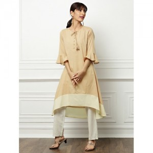 All About You Beige Solid High Low Kurta