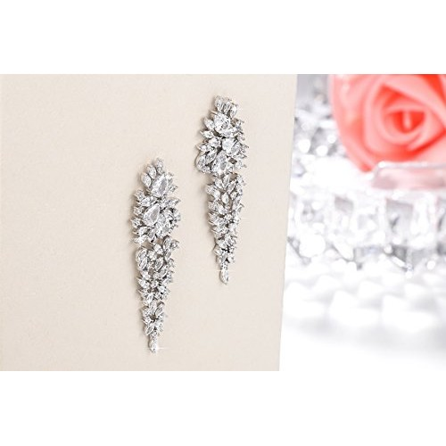 Yellow Chimes A5 Grade Crystal White Diamond Sparkle Drop Earrings for Women and Girls