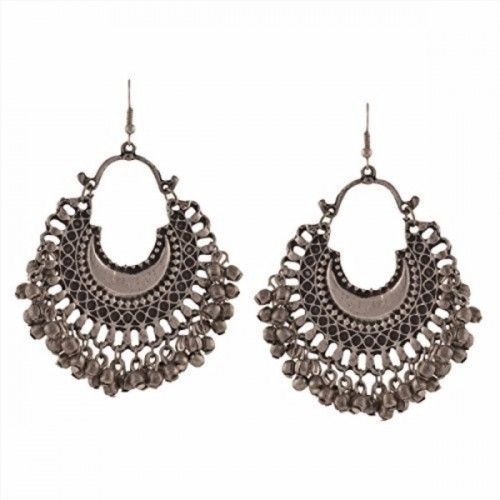 Multiline Company Multiline Company Fashion Oxidized Silver Afghani Tribal Dangler Hook Chandbali Earrings for Girls and Women Alloy Dangle Earring