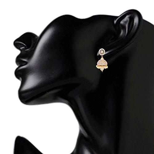 Swasti Jewels American Diamond CZ Fashion Jewellery Traditional Ethnic Pearls Jhumki Earrings for Women