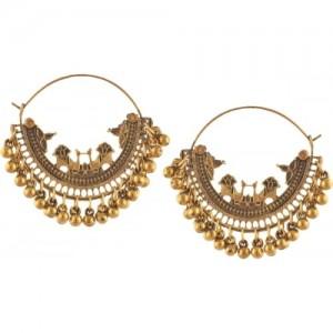 416225ad0 Zephyrr Fashion Oxidized Silver Beaded Chandbali Hoop Earrings for Girls  Alloy Dangle Earring