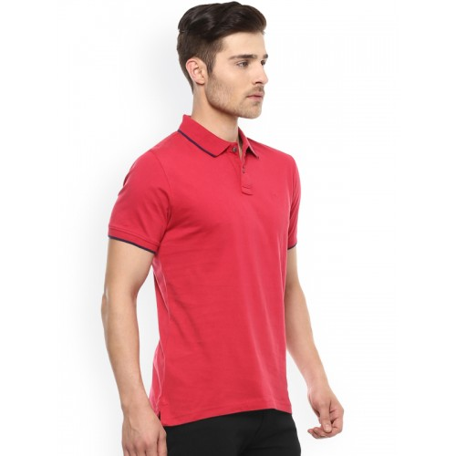 Peter England Red Solid Regular Fit Polo T-Shirt