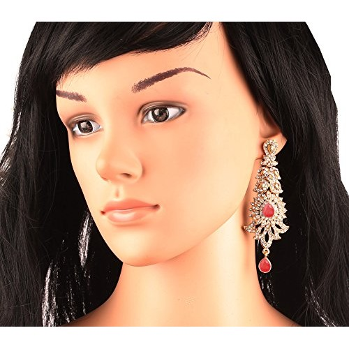 Touchstone Indian Exclusive Paisley Motif White Crystals Alloy Metal Grand Designer Jewelry Chandelier Earrings In Antique Gold Tone For Women