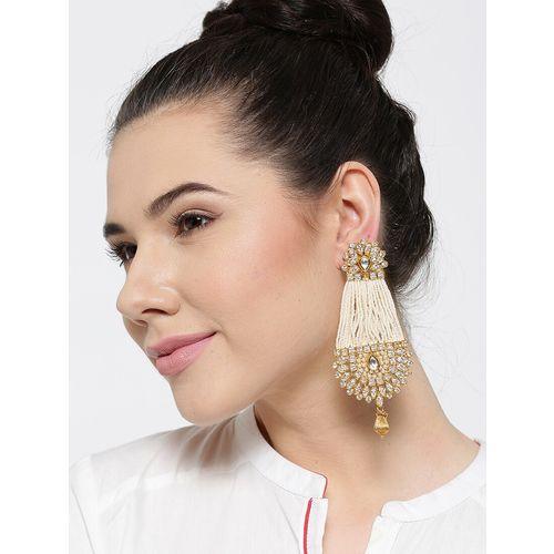 PANASH Off-White Gold-Plated Handcrafted Drop Earrings