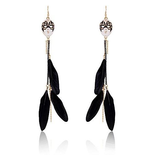 Cinderella Feathery Mask Hanging Dangle & Drop Earrings for Women