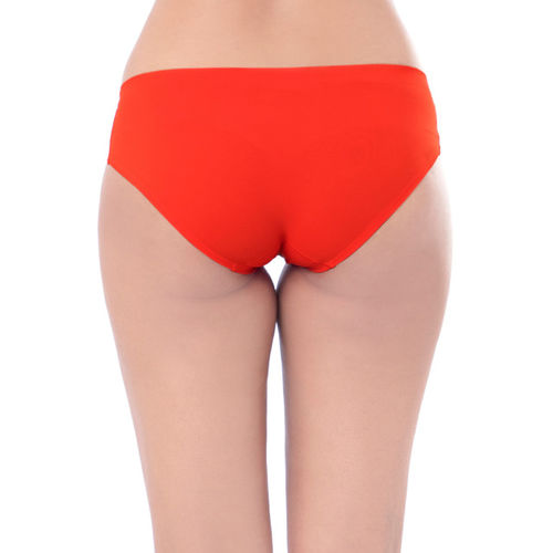PrettySecrets Women Coral Red Seamless Bikini Briefs P0005