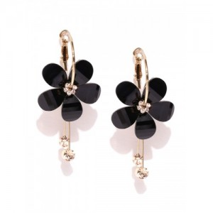 PRITA Black Gold-Plated Stone-Studded Floral Drop Earrings