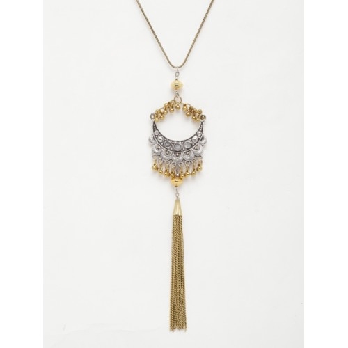 DIVA WALK Gold-Toned & Silver Metal Handcrafted Necklace
