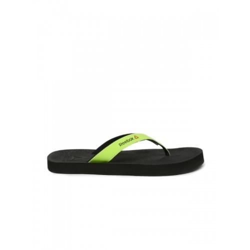 Reebok Men Grey & Neon Green Adventure Colourblocked Flip-Flops