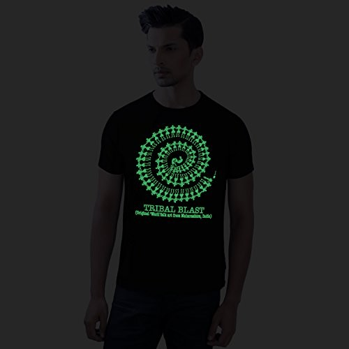 43e886d3a5f ... Tantra Black Combed Cotton Tribal Blast Glow in Dark Printed T-shirt ...