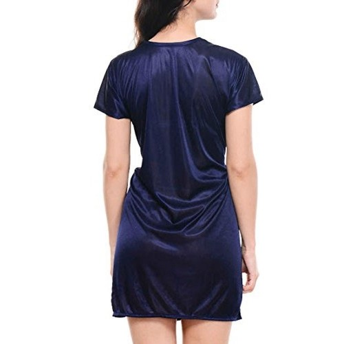 56674632e3 Buy Klamotten Womens Satin Navy Blue NightDress   Nightshirt online ...