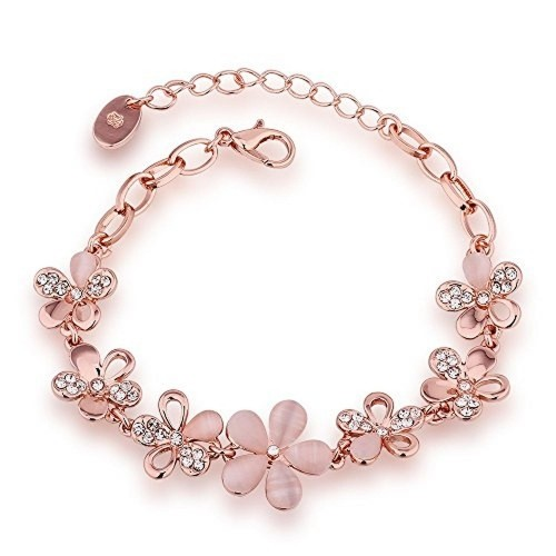 Aaishwarya Rose Gold Crystal Floral Bloom Bracelet