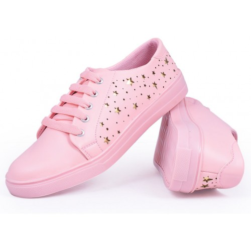 Trendy Look Pink Synthetic Sneakers