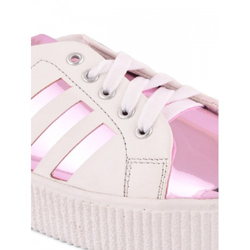 Meriggiare Women Pink PU Lace Up Sneakers
