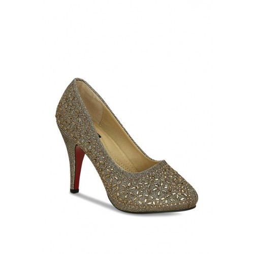 Get Glamr Dignity Antique Gold Stiletto Pumps