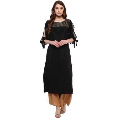Ziyaa Women Solid Straight Kurta(Black)