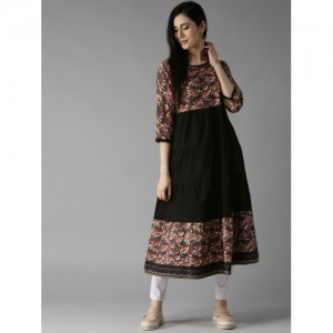 HERE&NOW Black Printed Tiered Anarkali Kurta
