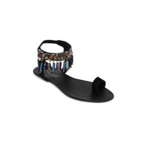 Catwalk Women Black Solid Beaded Synthetic Flats