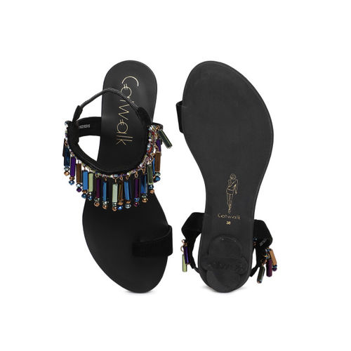 Catwalk Women Black Solid Beaded Synthetic Flats